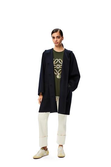 LOEWE Hooded coat in wool and cashmere Dark Navy Blue pdp_rd