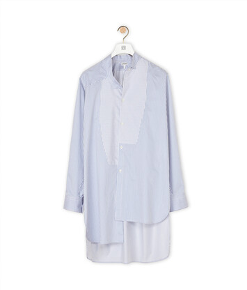 LOEWE Long Stripe Asymmetric Shirt white/blue front