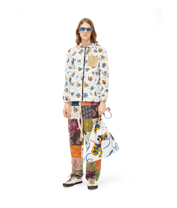 LOEWE Paula Print Zip Hood Jacket Blanco/Multicolor front