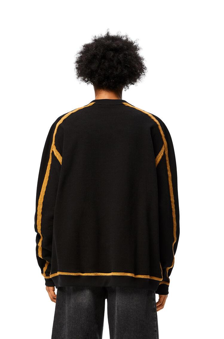 LOEWE Sudadera oversize en algodón con anagrama bordado Negro/Camel pdp_rd