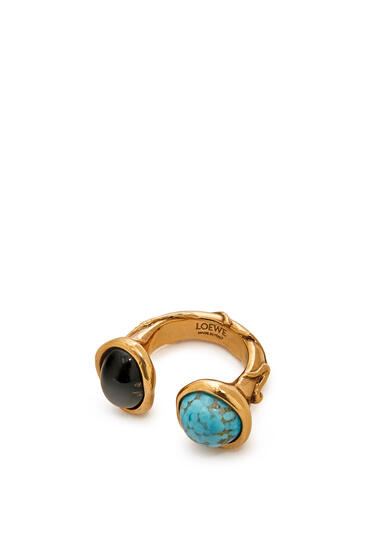 LOEWE Ring in metal Dark Brown/Light Blue pdp_rd