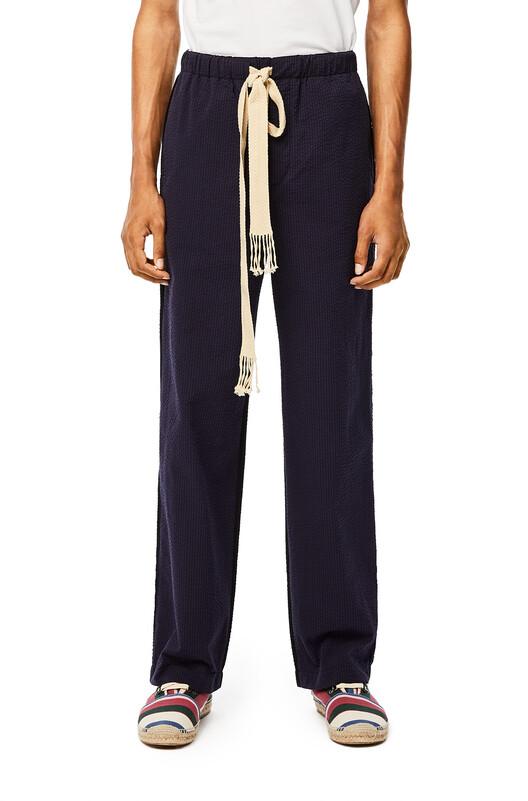 LOEWE Seersucker Drawstring Trousers Navy Blue/Black front