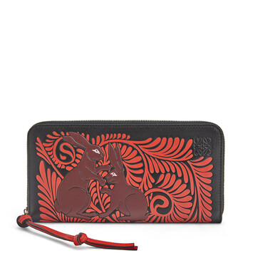 LOEWE Zip Around Wallet Animals ブラック/レッド front