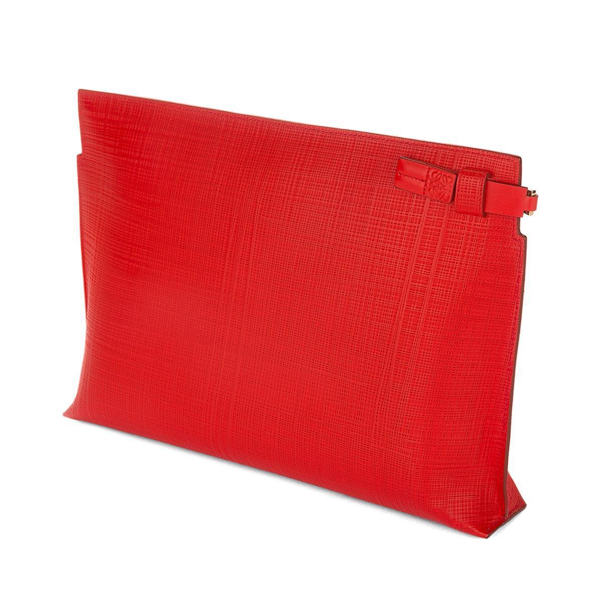 LOEWE T Pouch Linen Rojo Primario all