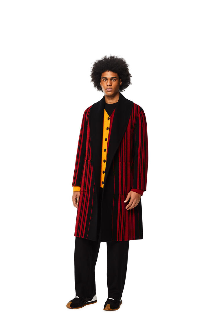 LOEWE Stripe belted coat in wool and cashmere Black/Red pdp_rd