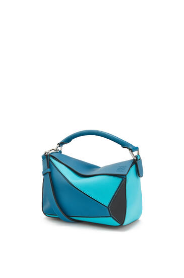 LOEWE Small Puzzle Bag In Classic Calfskin Dark Lagoon/Black pdp_rd