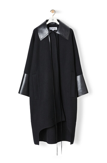 LOEWE Leather Collar Cuff Ov Coat Black front