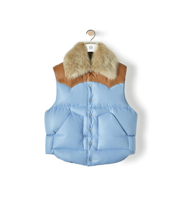 LOEWE Sleeveless Leather Jacket Light Blue front