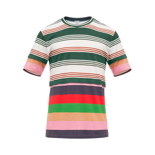 LOEWE Double Layer Stripe T-Shirt Multicolor front