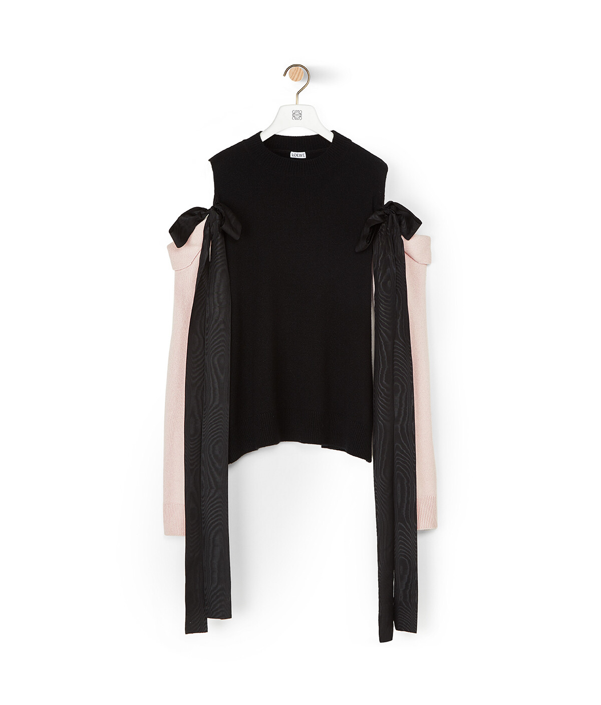 LOEWE Off Shoulder Sweater Bow Negro/Rosa Bebe front