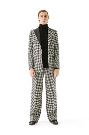LOEWE Houndstooth Pleated Trousers Black/White front