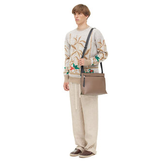 LOEWE Tメッセンジャーバッグ Dark Taupe/Military Green/Bl front