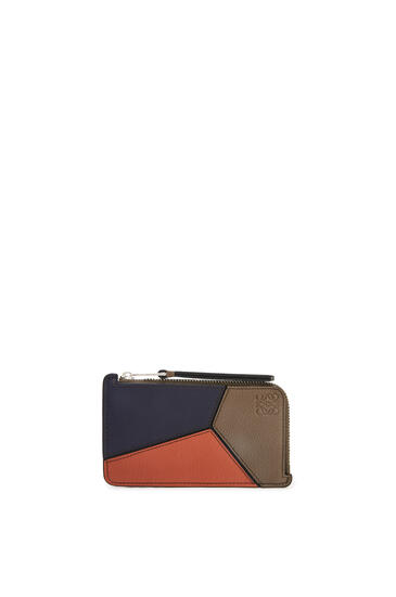 LOEWE Puzzle coin cardholder in classic calfskin Dark Moss/Pumpkin pdp_rd