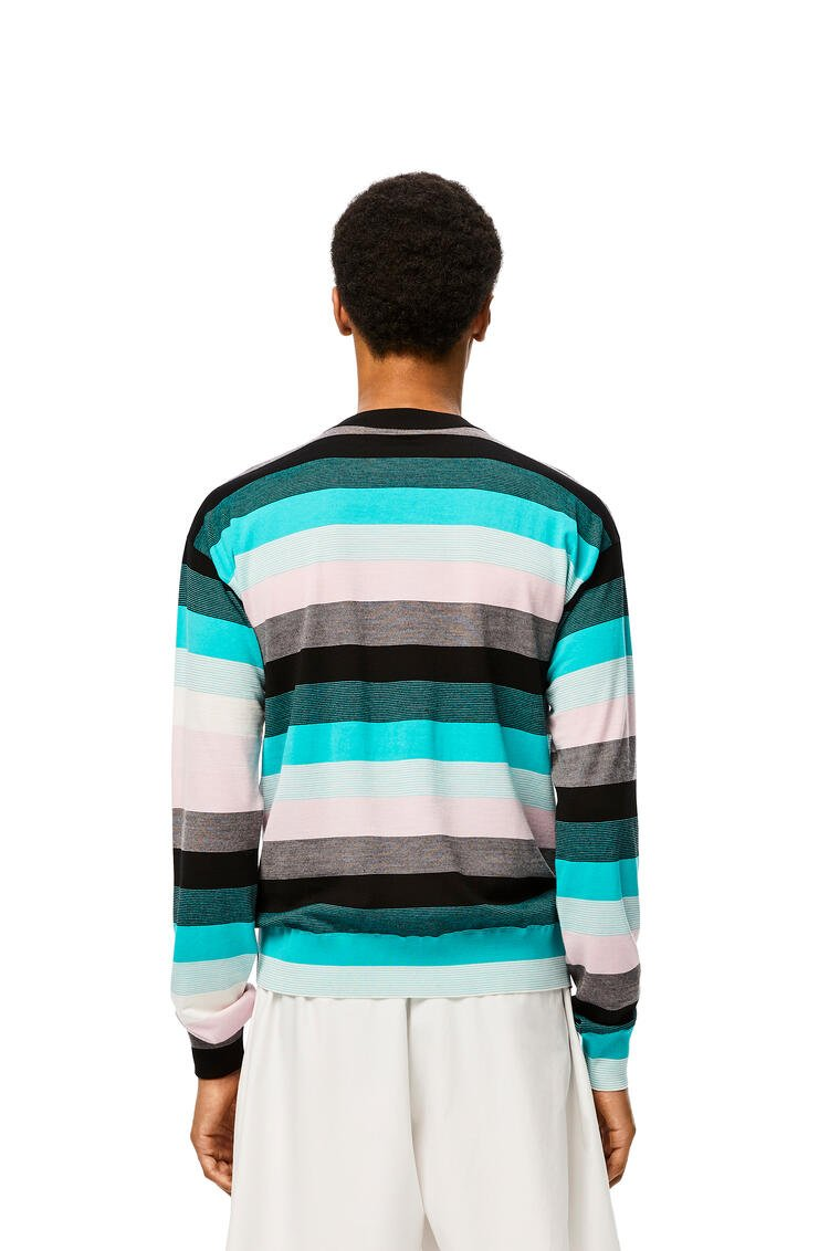 LOEWE Anagram embroidered sweater in stripe hemp Blue/Pink/White pdp_rd