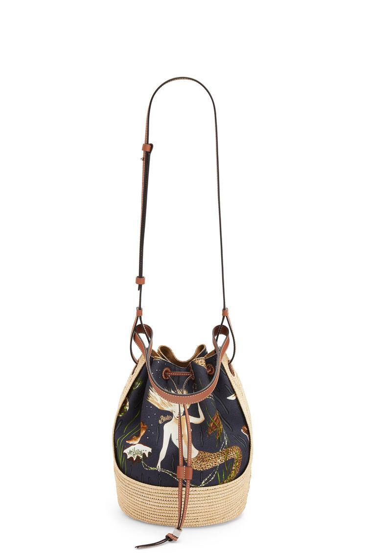 LOEWE Balloon bag in printed canvas and raffia Black/Natural pdp_rd