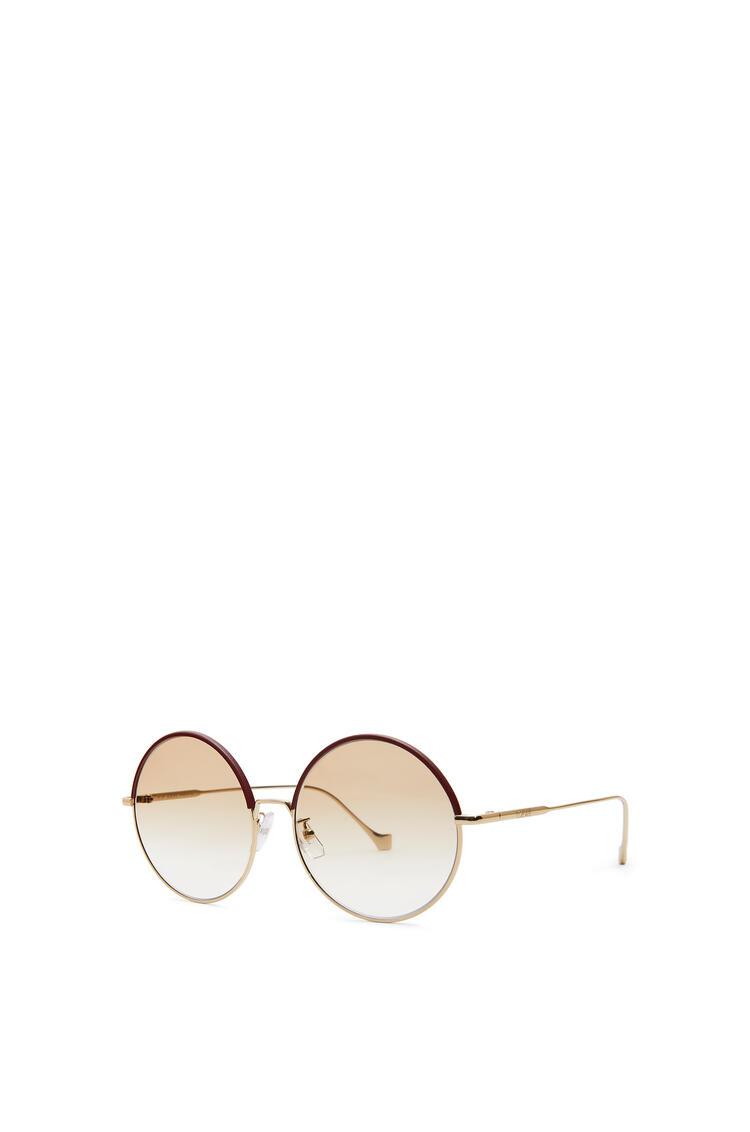 LOEWE Gafas de sol redondas en metal y piel Burdeos/Polvo pdp_rd