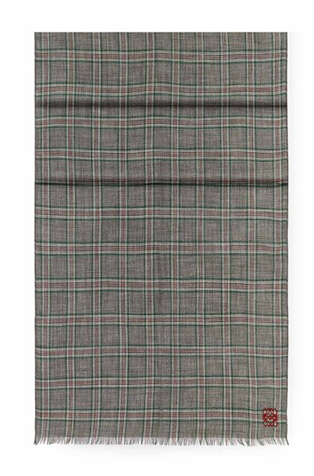 LOEWE 70X200 Scarf Checks Dark Grey/Green front