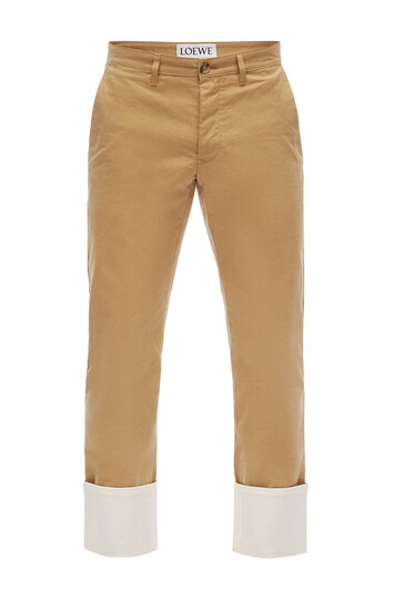 LOEWE Turn Up Chino Trousers Beige front