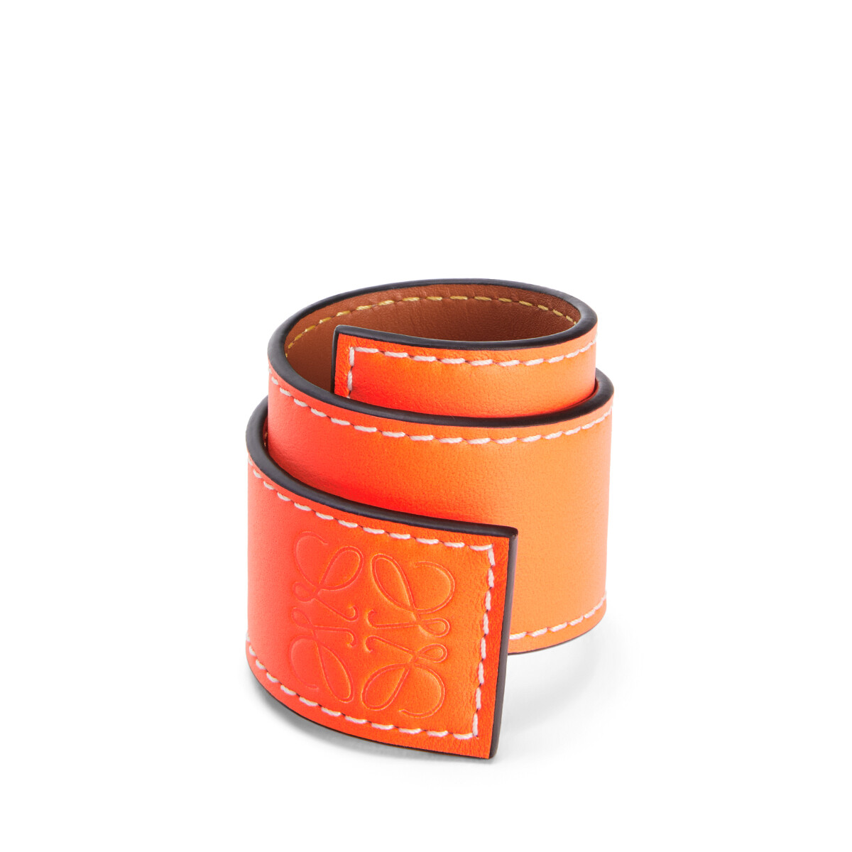 LOEWE Small Slap Bracelet In Classic Calfskin Neon Orange front