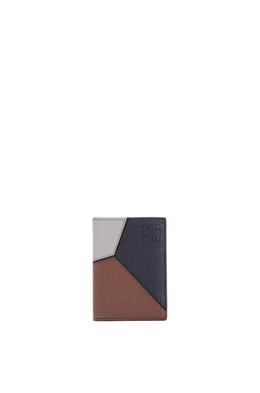 LOEWE Puzzle bifold cardholder in classic calfskin Midnight Blue/Brunette pdp_rd