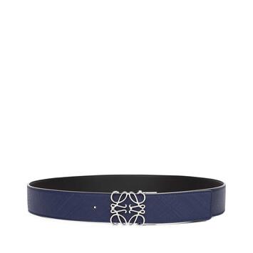 LOEWE Anagram Belt 4Cm Adj/Rev Navy Blue/Black/Palladium front