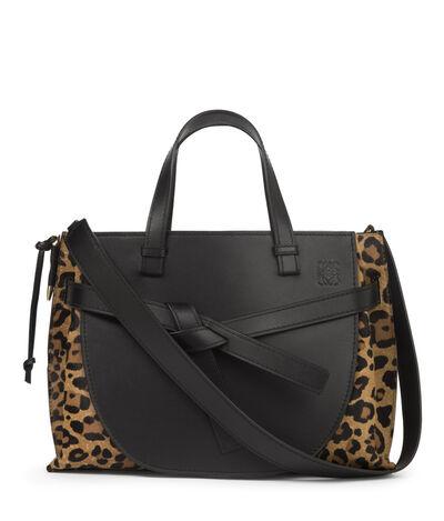 LOEWE Gate Top Handle Bag Leopard Print front