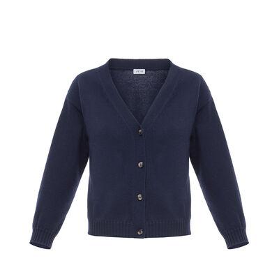 LOEWE Short Cardigan Navy Blue front