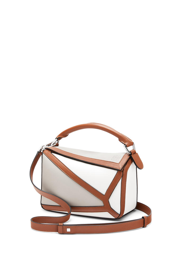 LOEWE Small Grid Puzzle Bag In Classic Calfskin Ghost/Soft White pdp_rd