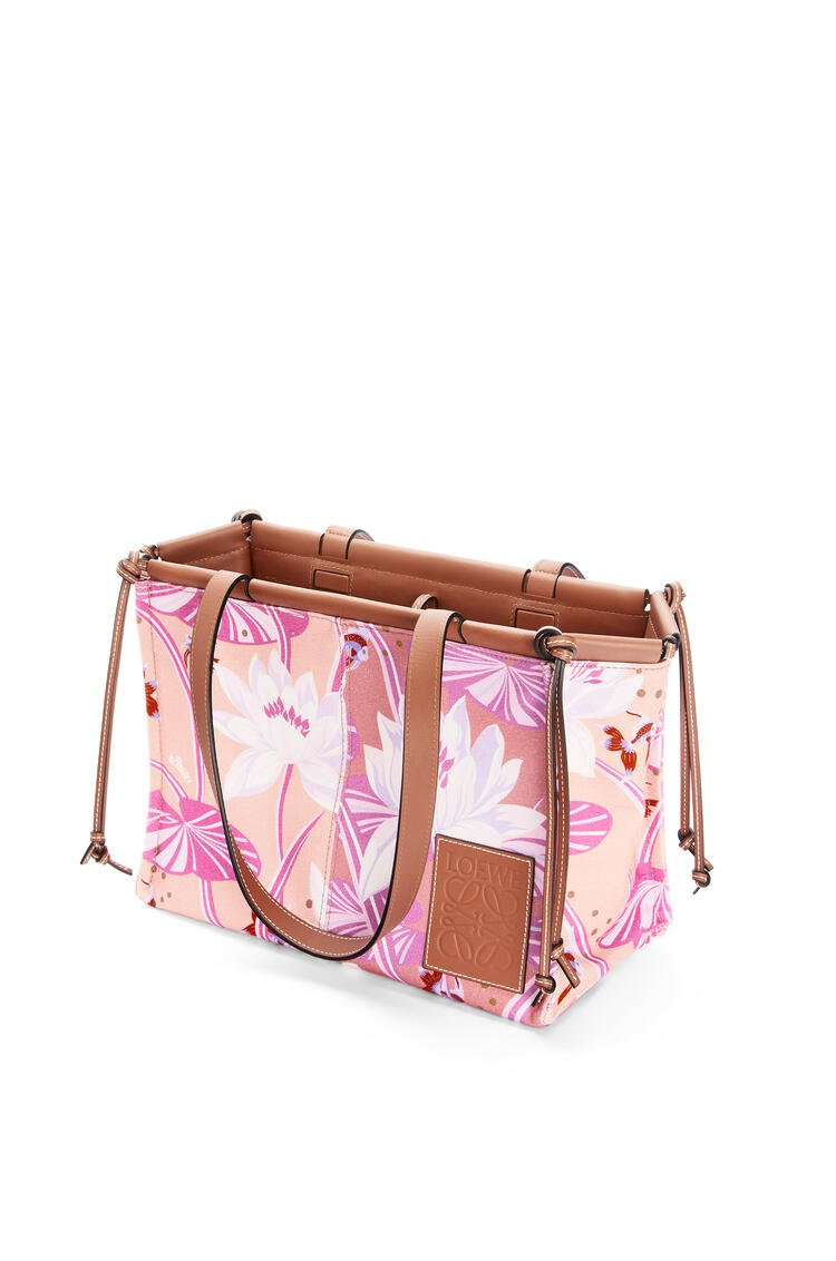 LOEWE Small cushion tote bag in printed canvas and calfskin Salmon/Pink pdp_rd