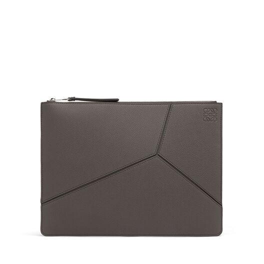 LOEWE Medium Puzzle Flat Pouch Dark Grey/Black all