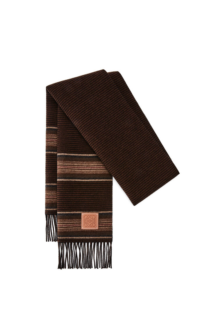 LOEWE Scarf in striped wool and cashmere Black/Red pdp_rd
