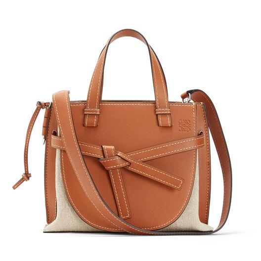 LOEWE Gate Top Handle Small Bag Tan/Natural all