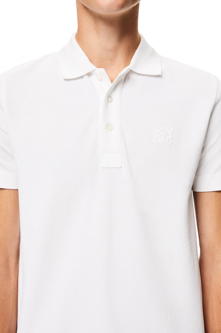 LOEWE Anagram embroidered polo in cotton White Ash pdp_rd