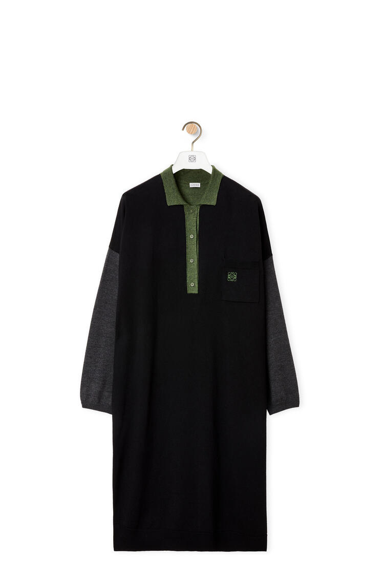 LOEWE 超大号Polo领连衣裙 黑色/军绿色 pdp_rd