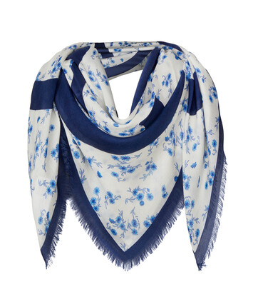LOEWE 140X140 Flower Scarf 藍色 front
