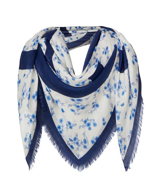 LOEWE 140X140 Flower Scarf Blue front