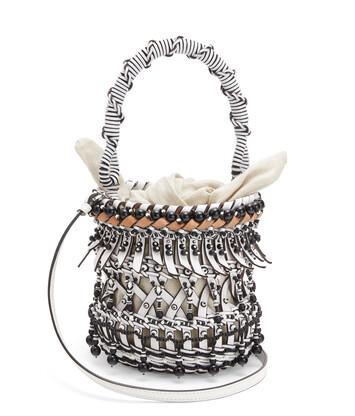 LOEWE Bolso Bucket Fringes Beads Pequeño Blanco front