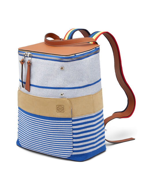 LOEWE Goya Stripes Backpack Pacific Blue/Multicolor front