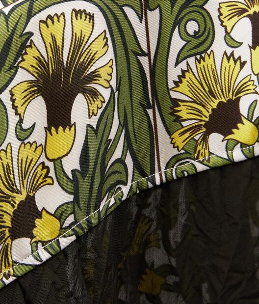 LOEWE Oversize Silk Print Shirt Flowers Yellow/Green front