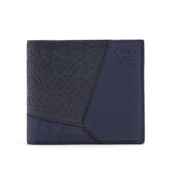 LOEWE Puzzle Bifold Wallet Multitext Navy Blue front