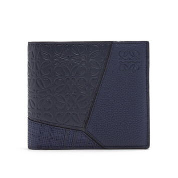 LOEWE Puzzle Bifold Coin Wallet Navy Blue front