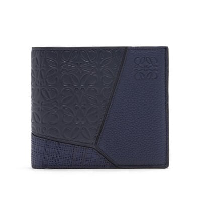 LOEWE Puzzle Multitexture Bifold Coi Navy Blue front
