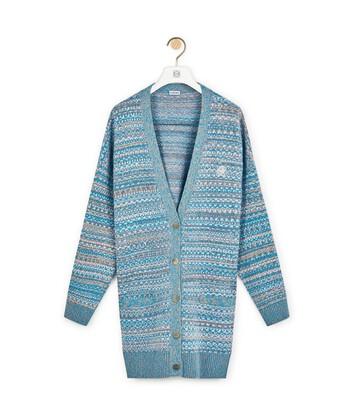 LOEWE Jacquard Oversize Cardigan Blue front