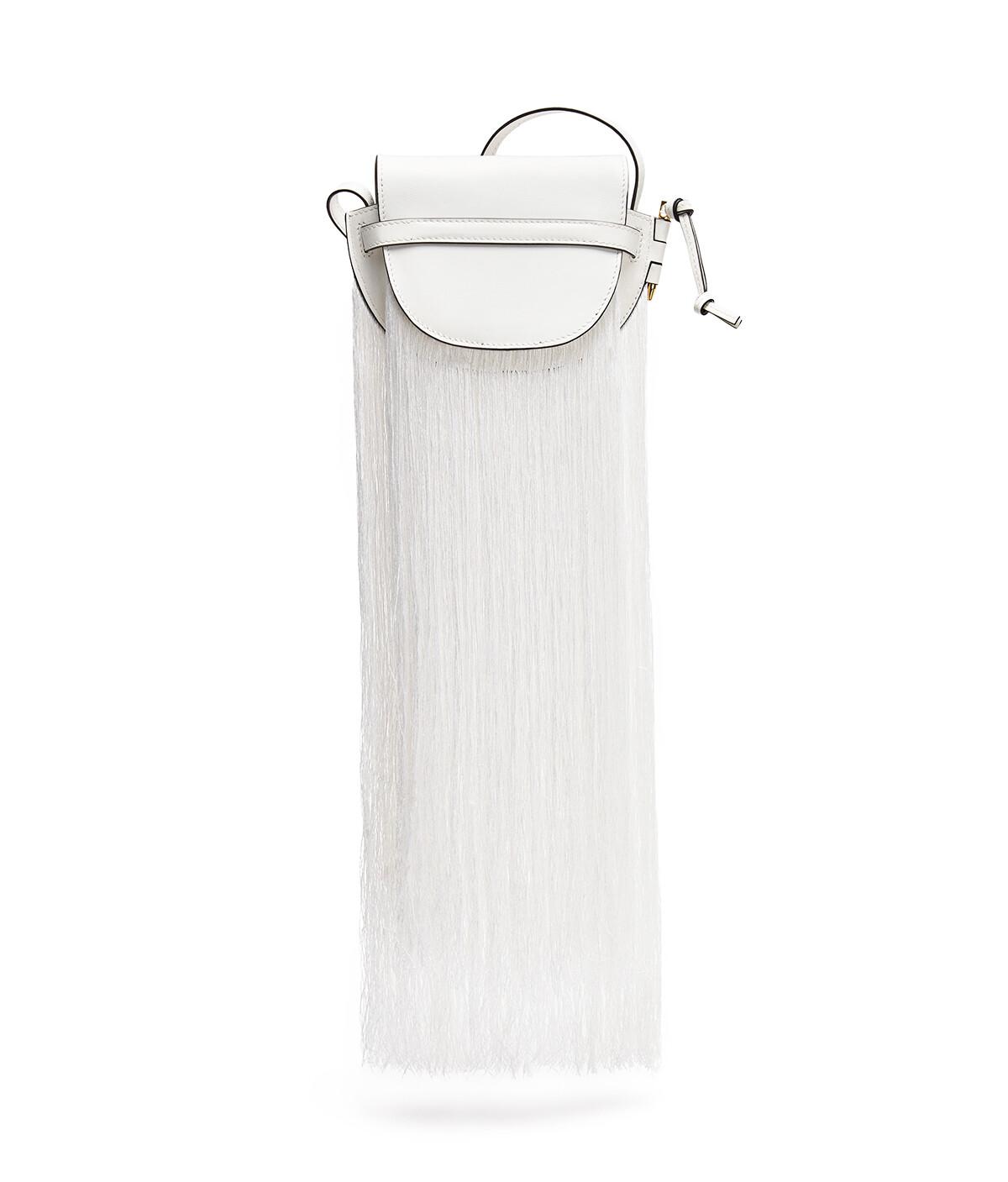 LOEWE Bolso Gate Fringes Mini Blanco front