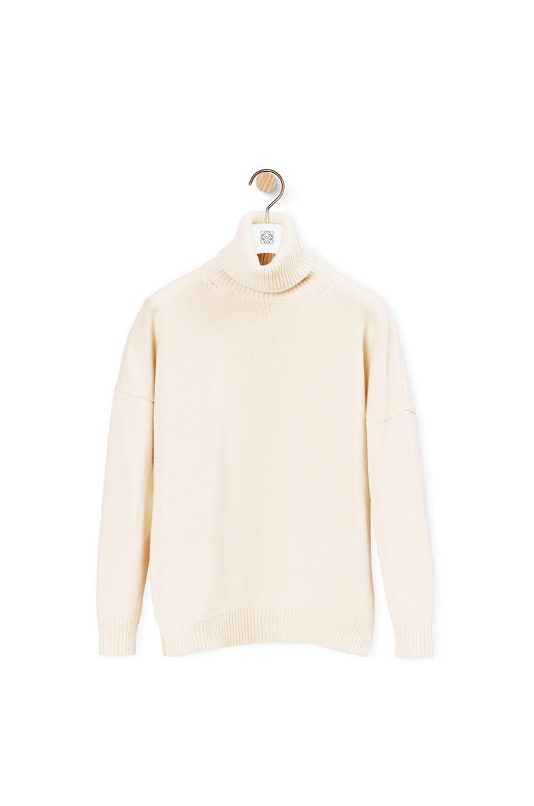 LOEWE Anagram embroidered turtleneck sweater in cashmere Off-white pdp_rd