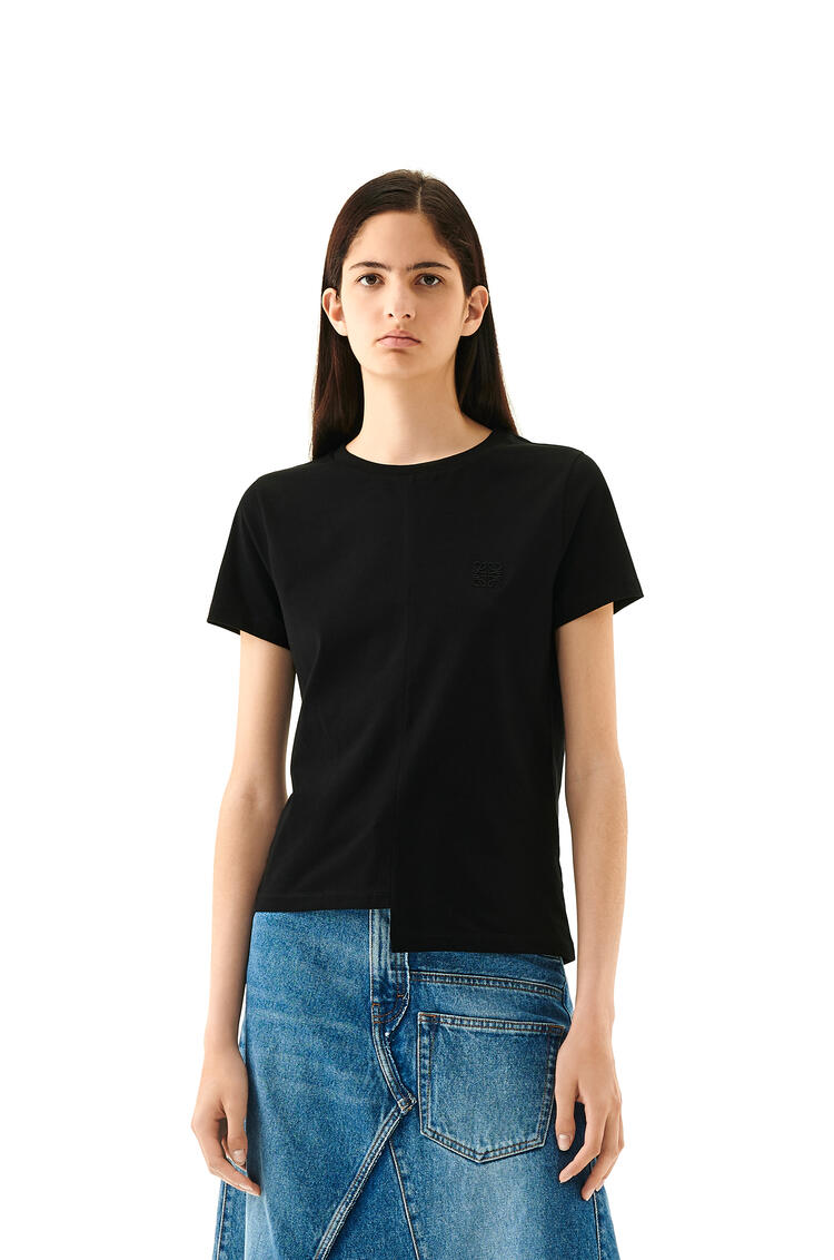 LOEWE Anagram embroidered asymmetric t-shirt in cotton Black pdp_rd