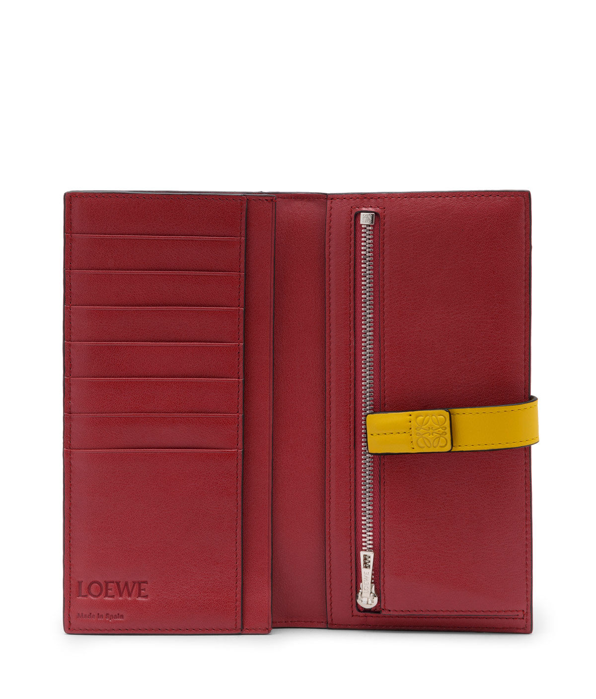 LOEWE Billetero Largo Vertical Marron Hoja/Amarillo all