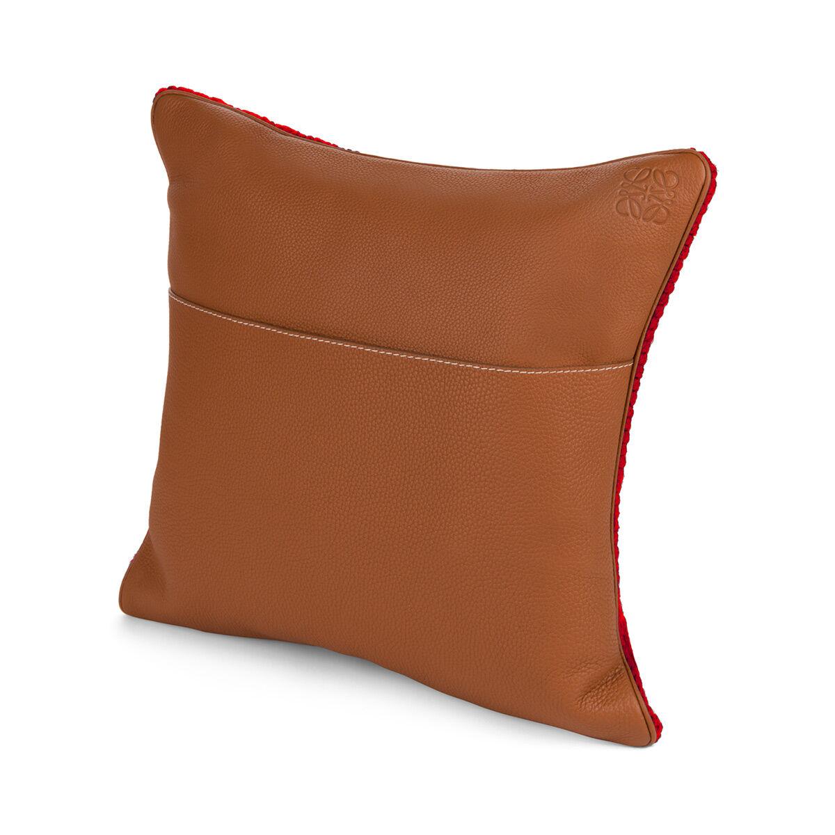 LOEWE Hand Knitted Cushion 6 40X40 レッド/ブルー all