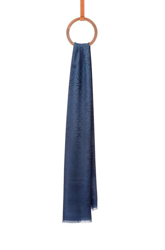 LOEWE 45X200 ダメロ スカーフ indigo blue front