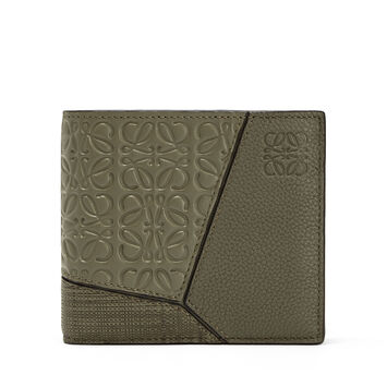 LOEWE Puzzle Bifold Wallet Multitext Khaki Green front